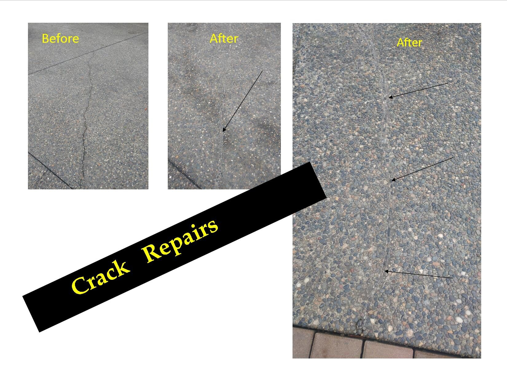 concrete crack repair  before/after