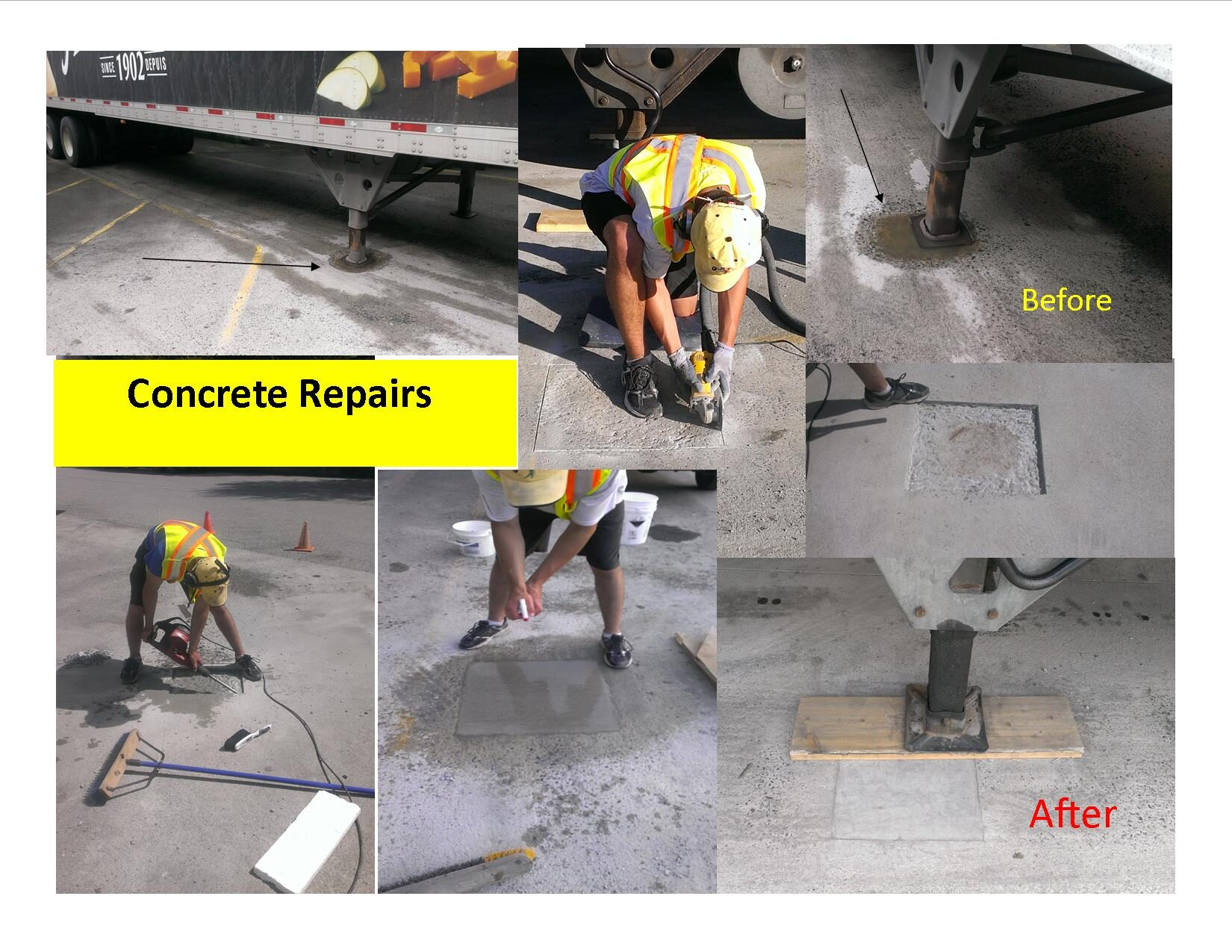 concrete repair before and after