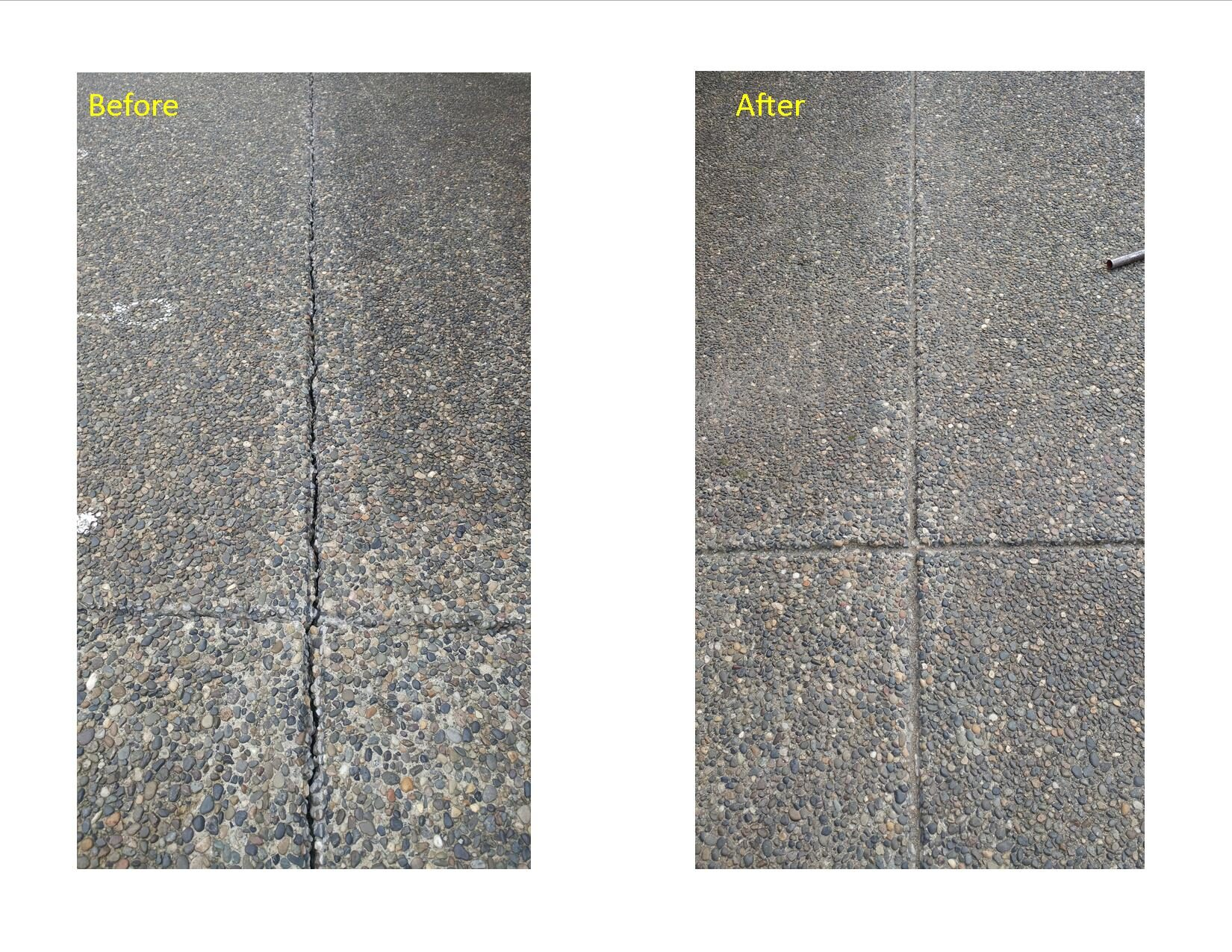 Concrete crack repair before and after